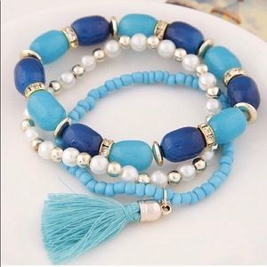 🎉HOST PICK🎉SET OF 3 BLUE BOHO BEADED BRACELETS